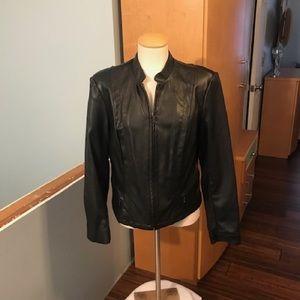 Faux leather moto jacket.